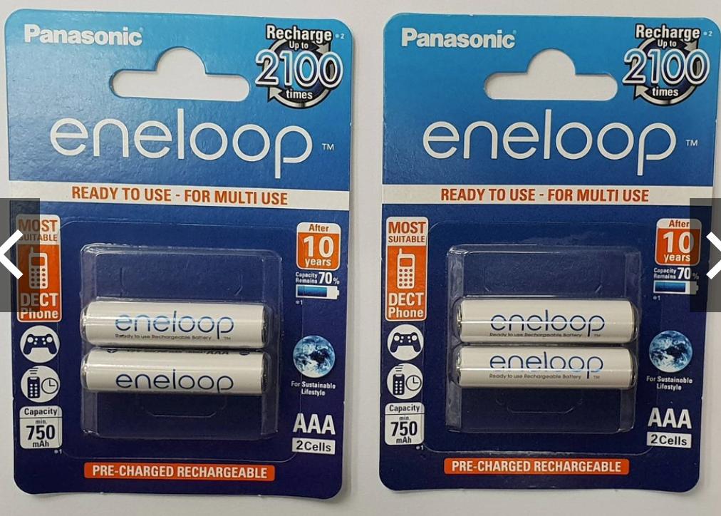 Panasonic Eneloop AAA 2 ก้อน 2 แพค 750 mAh แพคกระดาษ ของแท้ Made in Japan