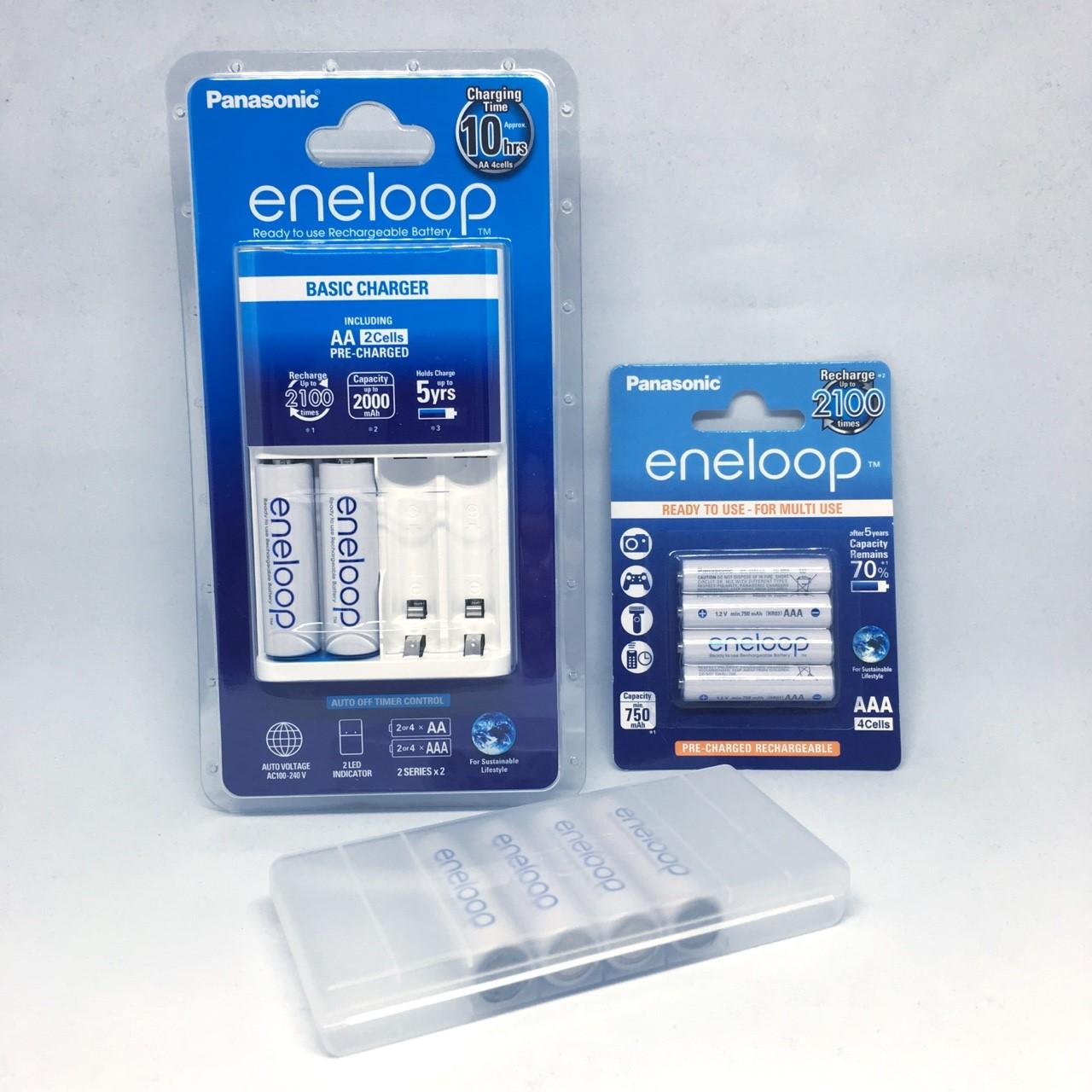 ชุดชาร์จ Panasonic Eneloop Eco พร้อมถ่าน AA 2 ก้อน / AAA 4 ก้อน แถม box 8 pcs