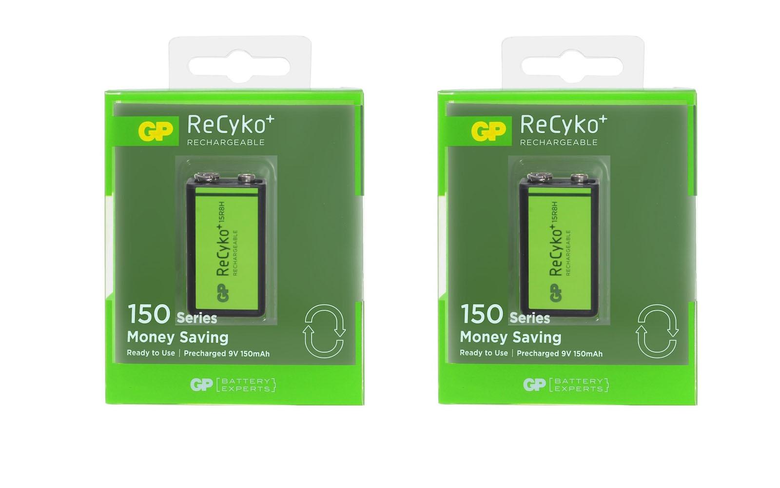 ถ่านชาร์จ GP Recyko+ ขนาด 9V(8.4V) 150 mAh จำนวน 2 ก้อน ของแท้