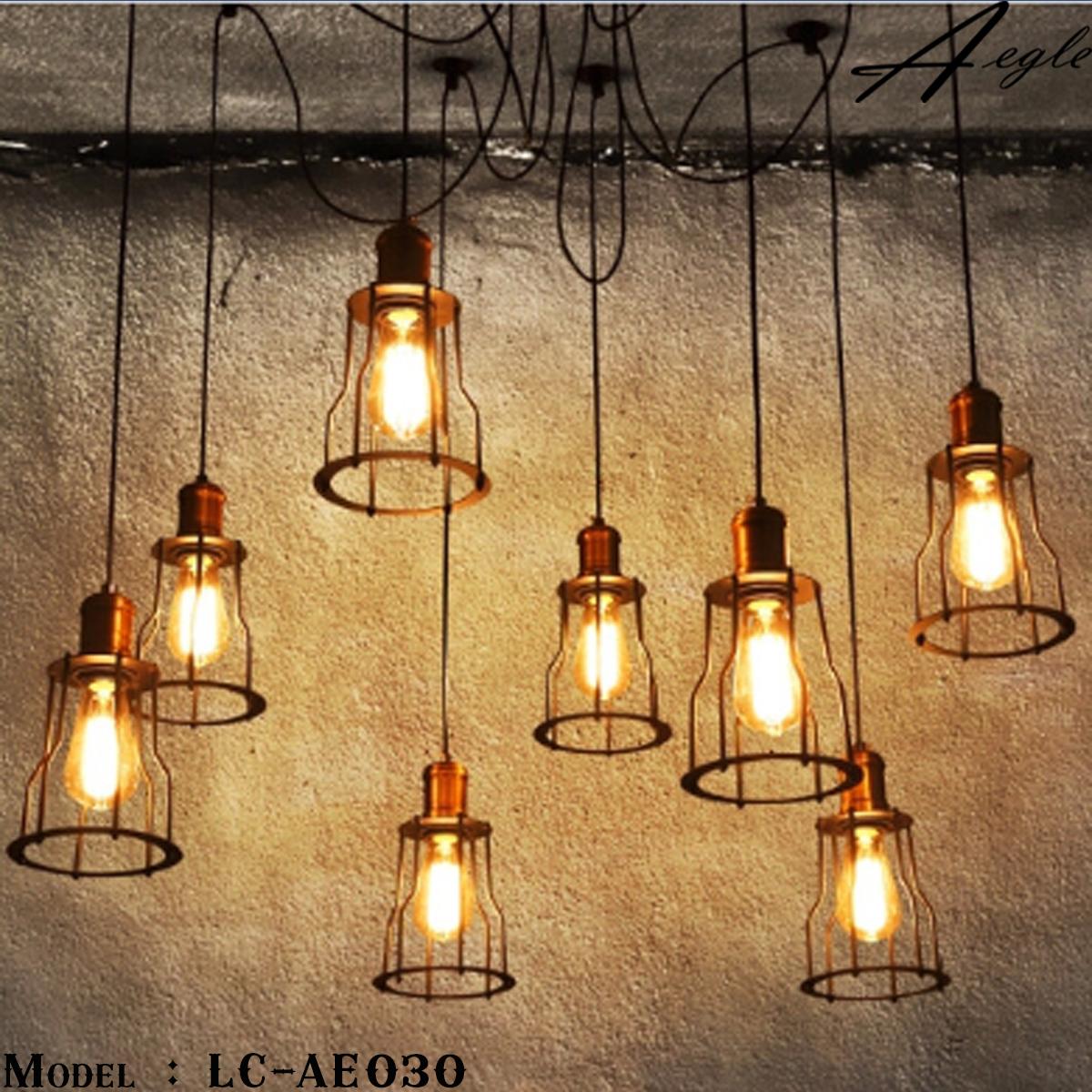 โคมไฟห้อยเพดานเหล็กโบราณ 8หัว Amazon Retro Wall Loft