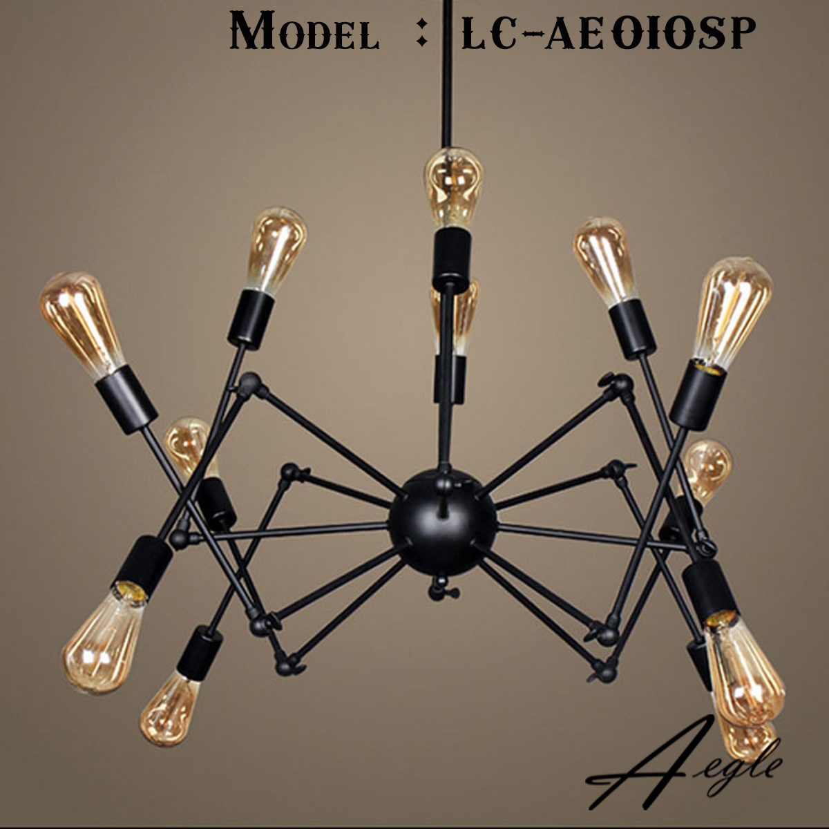 โคมไฟระย้าเหล็กทรงแมงมุม 12 ขา สีดำ สไตล์ Loft American