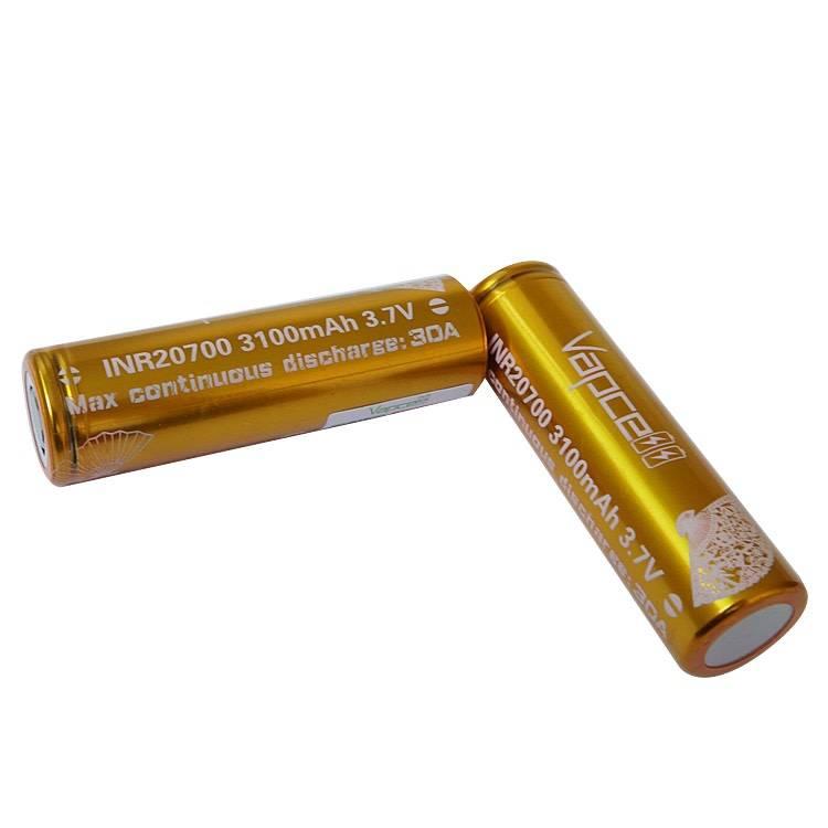 ถ่านชาร์จ Vapcell INR 20700 3100mAh 30A สีทอง แพค 2 ก้อน พร้อมกระเป๋า ของแท้