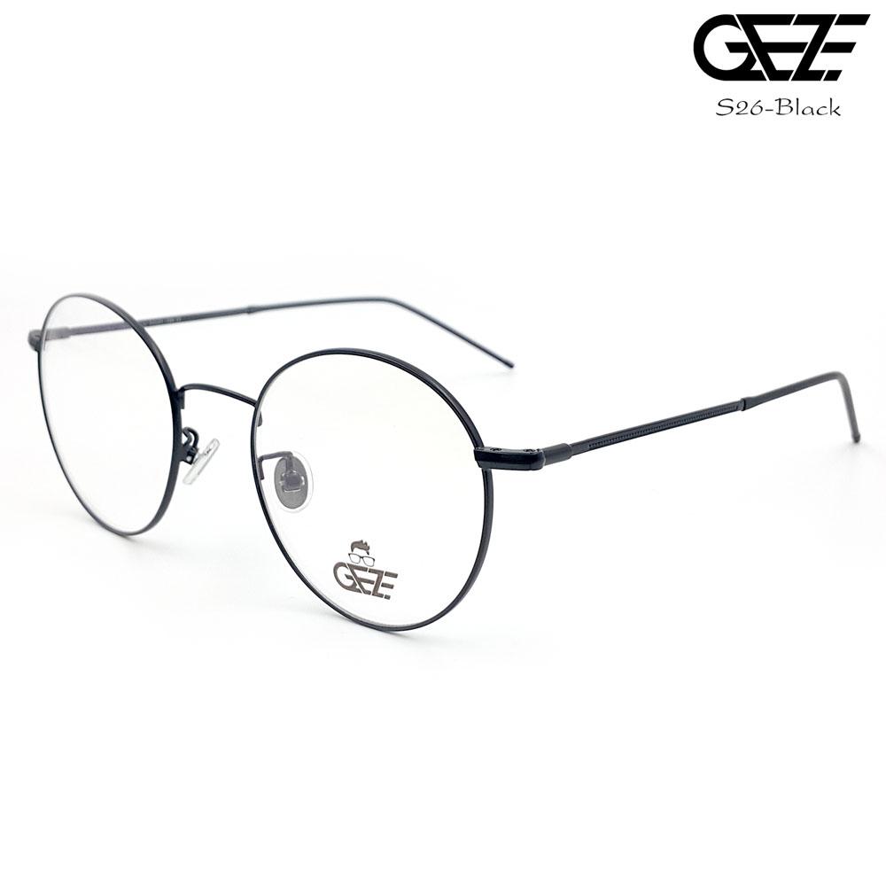 แว่นตาทรงกลม โลหะ Vintage น้ำหนักเบา ใส่สบาย GEZE รุ่น S26-BLACK อายุการใช้งานยาวนาน ด้วยโลหะพิเศษ