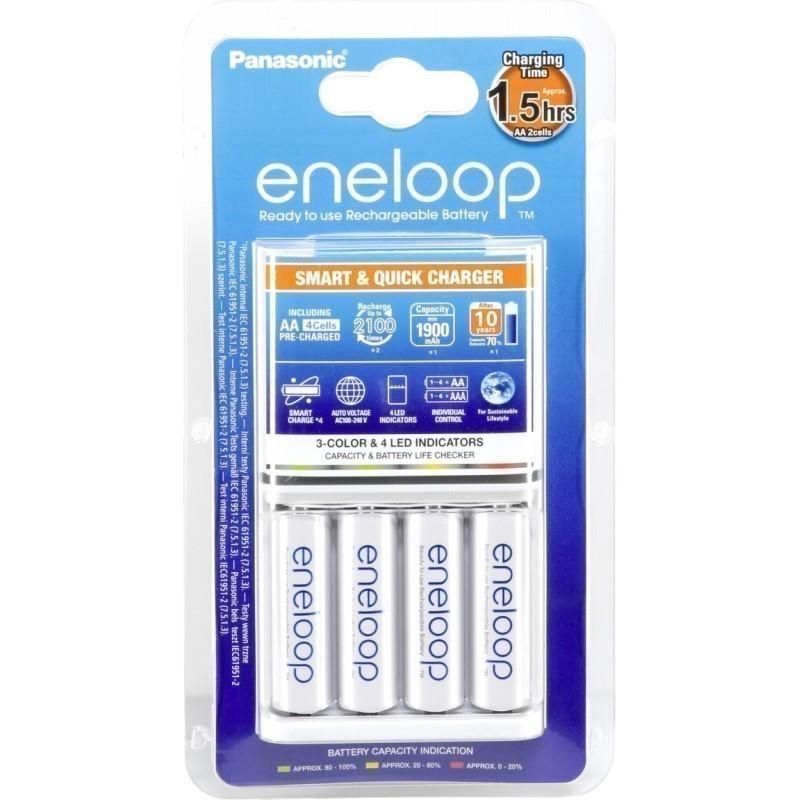 Panasonic Eneloop ชุดชาร์จเร็วสีขาว 1.5 ชั่วโมง + ถ่านชาร์จ AA 4pcs
