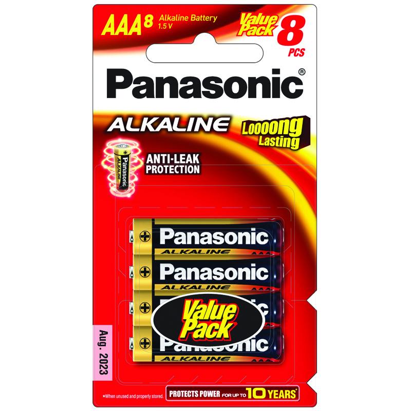 ถ่าน Panasonic Alkaline AAA แพค 8 ก้อน จำนวน 6 แพค