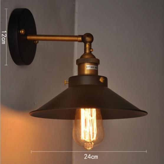 โคมไฟติดผนัง อเมริกันวินเทจ ก้านทองเหลือง