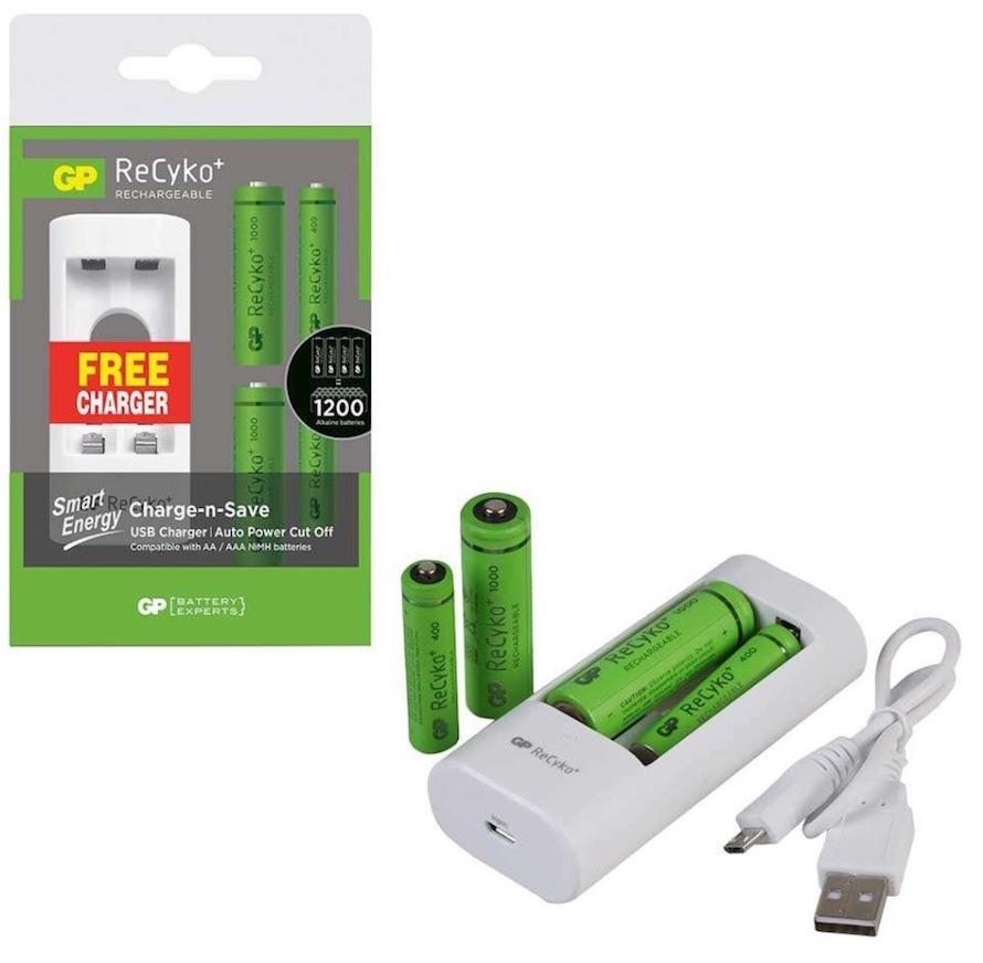 ชุดชาร์จ GP Recyko USB U211 with 2 ReCyko+ AA and 2 ReCyko+ AAA