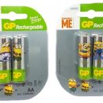 ถ่านชาร์จ GP minions limited edition AA 1000 mAh แพค 4 ก้อน