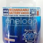 ถ่านชาร์จ Panasonic Eneloop AAA 4 ก้อน แพคพลาสติก 800 mAh min 750 mAh