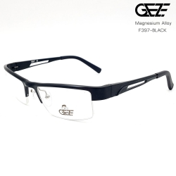 แว่นตาผู้ชาย โลหะ Magnesium น้ำหนักเบา ใส่สบาย GEZE SABER รุ่น F397 สีดำ อายุการใช้งานยาวนาน ด้วยโลหะ Aluminium Magnesium Alloy
