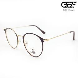 แว่นตาทรงกลม โลหะ Vintage น้ำหนักเบา ใส่สบาย GEZE รุ่น S99 สีน้ำตาล อายุการใช้งานยาวนาน ด้วยโลหะพิเศษ
