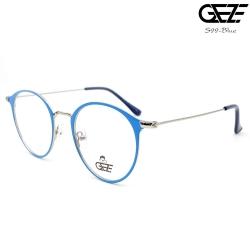 แว่นตาทรงกลม โลหะ Vintage น้ำหนักเบา ใส่สบาย GEZE รุ่น S99 สีฟ้า อายุการใช้งานยาวนาน ด้วยโลหะพิเศษ