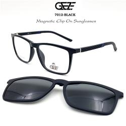 กรอบแว่นตากรองแสง ฟรี คลิปออนกันแดดสีดำ Polarized GEZE 1ClipOn รุ่น 7012 สีดำเงา ป้องกันแสงแดด รังสี UVA UVB UV400 ลดอาการแสบตา ได้อย่างดีเยี่ยม