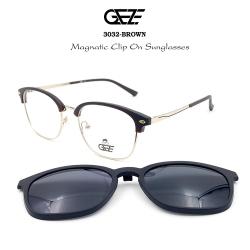 กรอบแว่นตากรองแสง ฟรี คลิปออนกันแดดสีดำ Polarized GEZE 1ClipOn รุ่น 3032 สีดำ ขาสีทอง ป้องกันแสงแดด รังสี UVA UVB UV400 ลดอาการแสบตา ได้อย่างดีเยี่ยม