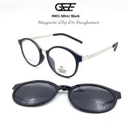กรอบแว่นตากรองแสง ฟรี คลิปออนกันแดดสีดำ Polarized GEZE 1ClipOn รุ่น 9901 สีดำ ขาสีเงิน ป้องกันแสงแดด รังสี UVA UVB UV400 ลดอาการแสบตา ได้อย่างดีเยี่ยม