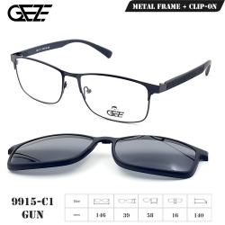 กรอบแว่นตากรองแสง ฟรี คลิปออนกันแดดสีดำ Polarized GEZE 1ClipOn รุ่น 9915 สีดำ ป้องกันแสงแดด รังสี UVA UVB UV400 ลดอาการแสบตา ได้อย่างดีเยี่ยม