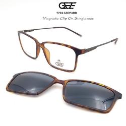กรอบแว่นตากรองแสง ฟรี คลิปออนกันแดดสีดำ Polarized GEZE 1ClipOn รุ่น 7704 สีน้ำตาลลายกะ ป้องกันแสงแดด รังสี UVA UVB UV400 ลดอาการแสบตา ได้อย่างดีเยี่ยม