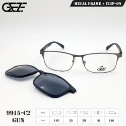 กรอบแว่นตากรองแสง ฟรี คลิปออนกันแดดสีดำ Polarized GEZE 1ClipOn รุ่น 9915 สีเทาเข้ม ป้องกันแสงแดด รังสี UVA UVB UV400 ลดอาการแสบตา ได้อย่างดีเยี่ยม