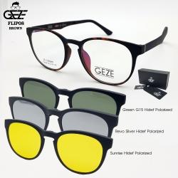 แว่นตากรองแสง GEZE รุ่น FLIP08-Leopard แถมฟรี คลิปออนแม่เหล็ก 3 Clip-On HD-Polarized