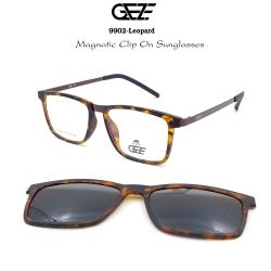 กรอบแว่นตากรองแสง ฟรี คลิปออนกันแดดสีดำ Polarized GEZE 1ClipOn รุ่น 9902 สีน้ำตาลลายกะ ป้องกันแสงแดด รังสี UVA UVB UV400 ลดอาการแสบตา ได้อย่างดีเยี่ยม