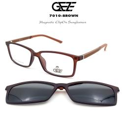 กรอบแว่นตากรองแสง ฟรี คลิปออนกันแดดสีดำ Polarized GEZE 1ClipOn รุ่น 7010 สีน้ำตาล ป้องกันแสงแดด รังสี UVA UVB UV400 ลดอาการแสบตา ได้อย่างดีเยี่ยม