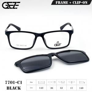กรอบแว่นตากรองแสง ฟรี คลิปออนกันแดดสีดำ Polarized GEZE 1ClipOn รุ่น 7701 สีดำเงา ป้องกันแสงแดด รังสี UVA UVB UV400 ลดอาการแสบตา ได้อย่างดีเยี่ยม