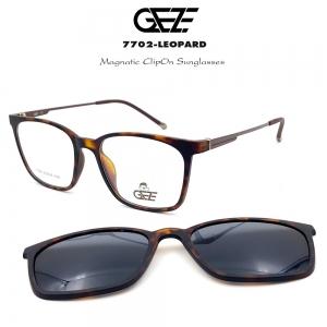 กรอบแว่นตากรองแสง ฟรี คลิปออนกันแดดสีดำ Polarized GEZE 1ClipOn รุ่น 7702 สีน้ำตาลลายกะ ป้องกันแสงแดด รังสี UVA UVB UV400 ลดอาการแสบตา ได้อย่างดีเยี่ยม