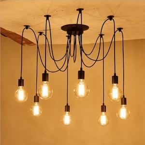 โคมไฟระย้าติดเพดาน สไตล์นอร์ดิกวินเทจ 8 หลอด