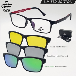 แว่นตากรองแสง GEZE รุ่น FLIP07-BlackRed แถมฟรี คลิปออนแม่เหล็ก 3 Clip-On HD-Polarized