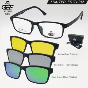 แว่นตากรองแสง GEZE รุ่น FLIP07-Black แถมฟรี คลิปออนแม่เหล็ก 3 Clip-On HD-Polarized