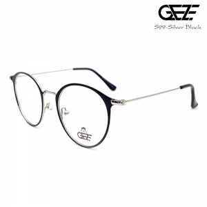 แว่นตาทรงกลม โลหะ Vintage น้ำหนักเบา ใส่สบาย GEZE รุ่น S99 สีดำ ขาสีเงิน อายุการใช้งานยาวนาน ด้วยโลหะพิเศษ